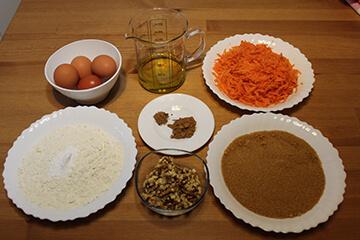 Ingredientes Bizcocho de Zanahoria y Nueces