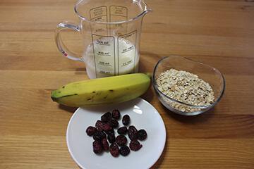 Ingredientes de Smoothie Avena y Banana